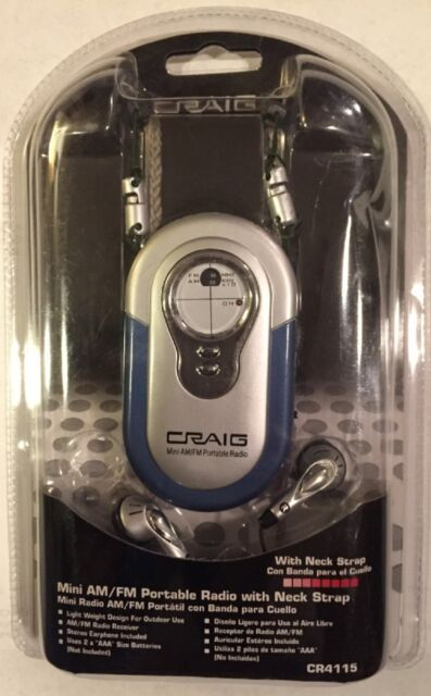 Brand New Craig Mini AM//FM Portable Radio With Neck Strap /& Earbuds CR4116A