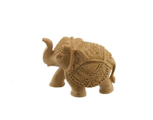 Statue Elephant Trompe en l Air en Bois de Kadam Sculpture Indienne Art   3747