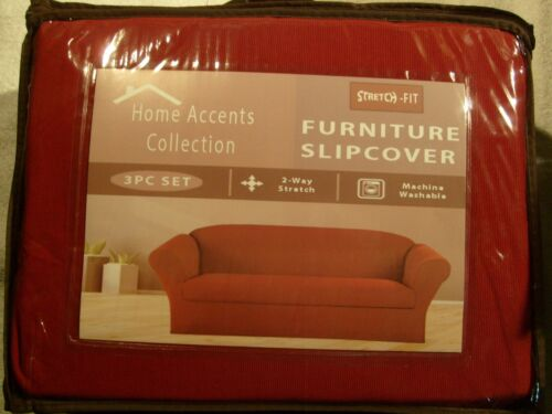 BURGUNDY STRETCH FIT 3 Pcs Furniture Slipcover Set Sofa+Loveseat+Chair Covers