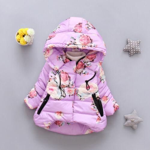 Winter Jacket For Girls Coat Kids Warm Cotton Outerwear Sizes 12M-4T