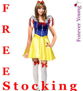 Womens-Halloween-Snow-White-Fairytale-Fancy-Dress-Costume-with-Free-Stockings