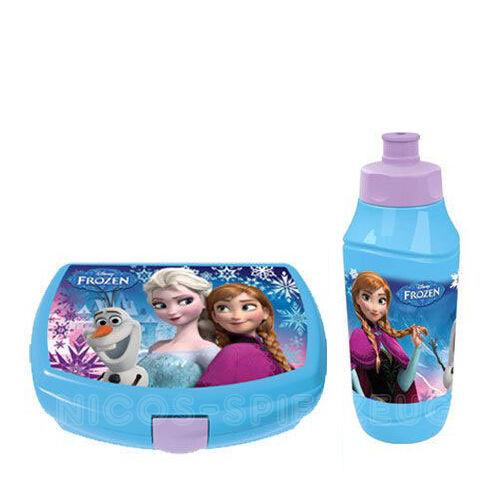 Frozen die Eiskönigin Brotdose Lunchbox Trinkflasche Sportflasche Set 2 tlg blau