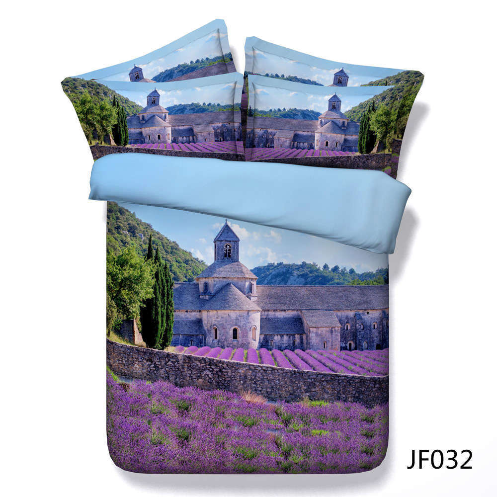 Lavender Castle 3D Printing Duvet Quilt Doona Covers Pillow Case Bedding Sets