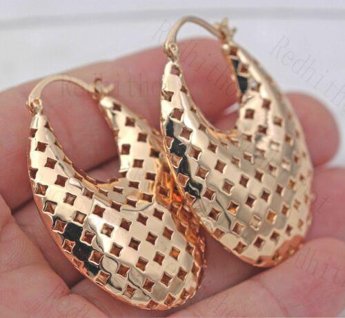 18K Gold Filled Boucles d/'oreilles exquis Panier Square Rhombus Hollow Lady oreille Hoop ONU