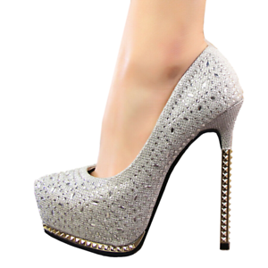 Women-039-s-Pointed-Toe-5-3-034-High-Heels-Glitter-Silver-Platform-Pumps-Multiple-Size