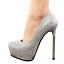 Women-039-s-Pointed-Toe-5-3-034-High-Heels-Glitter-Silver-Platform-Pumps-Multiple-Size thumbnail 1