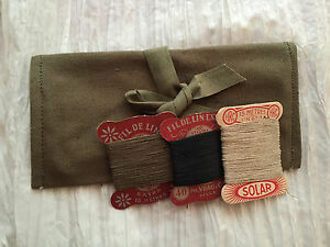 Vintage WWII Era French Sewing Kit Green Pouch Thread Gifts for Men Boy Scouts