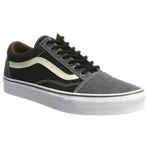Vans Old Skool Black Mens Canvas Laceup Lowprofile Skate Trainers Sneakers