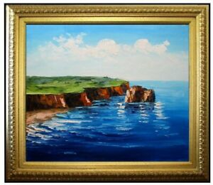Framed-Quality-Hand-Painted-Oil-Painting-Oceanside-Cliff-III-20x24in