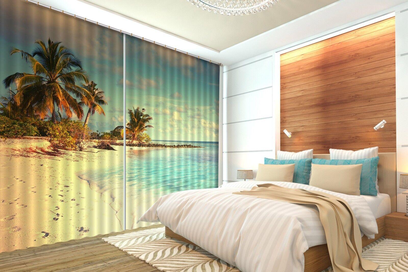 3D cielo del atardecer Palm Beach 2 Cortinas de impresión de cortina de foto Blockout Cortinas nos Limón