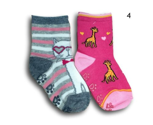 Baby Toddler Girl ABS Anti Non Slip Coton Chaussettes 2 Paires Taille 3 mois à 7 ans