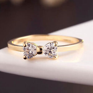 Hot Fashion Crystal Gold Plated Finger Bow Wedding Engagement