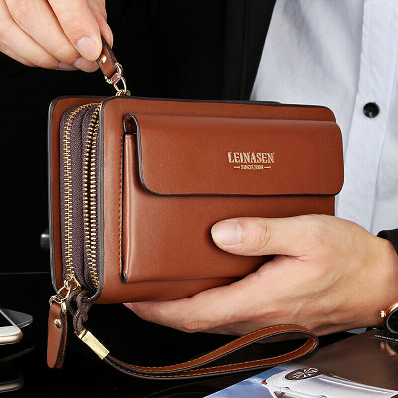 Mens Business Leather Long Wallet Cash Card Holder Clutch Bag Phone Case Zip