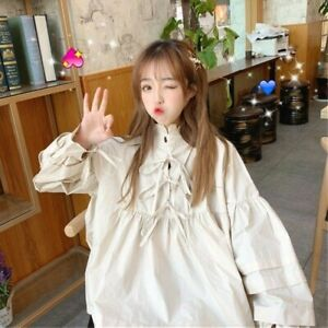 Lady-Loose-Retro-Shirts-Lolita-Blouse-Ruffles-Lace-Top-Puff-Sleeve-Kawaii-Cute