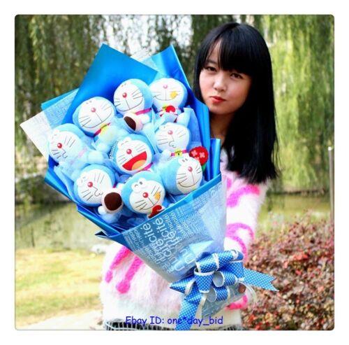 Bunch of  9 PCS Doraemon plush Dolls Toys flowers XMAS birthday Creative Gift