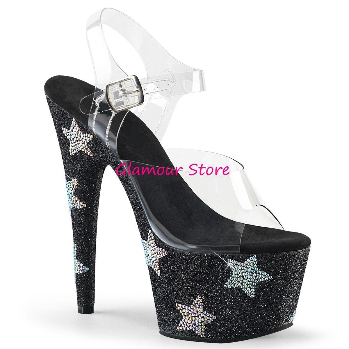 Sexy SANDALI GLITTER STRASS tacco 18 plateau dal 35 al 40 negro zapatos GLAMOUR