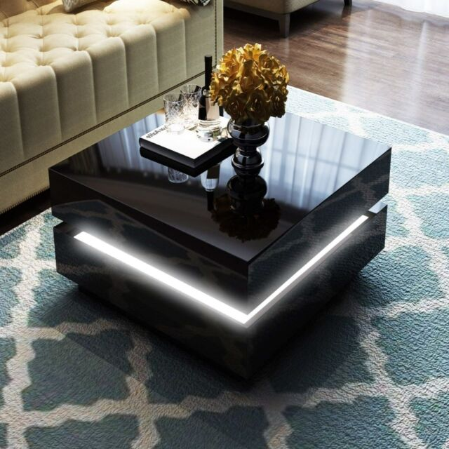 Tiffany Black High Gloss Cubic Led Coffee Table Tiff015 For