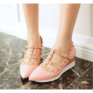 Womens Fashion Wedge heel Pointed Toe PU Rivet T-Straps Buckle Casual Shoes yh