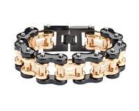 Men's Stainless Steel Thick Black Gold Bike Chain Bracelet Usa Seller