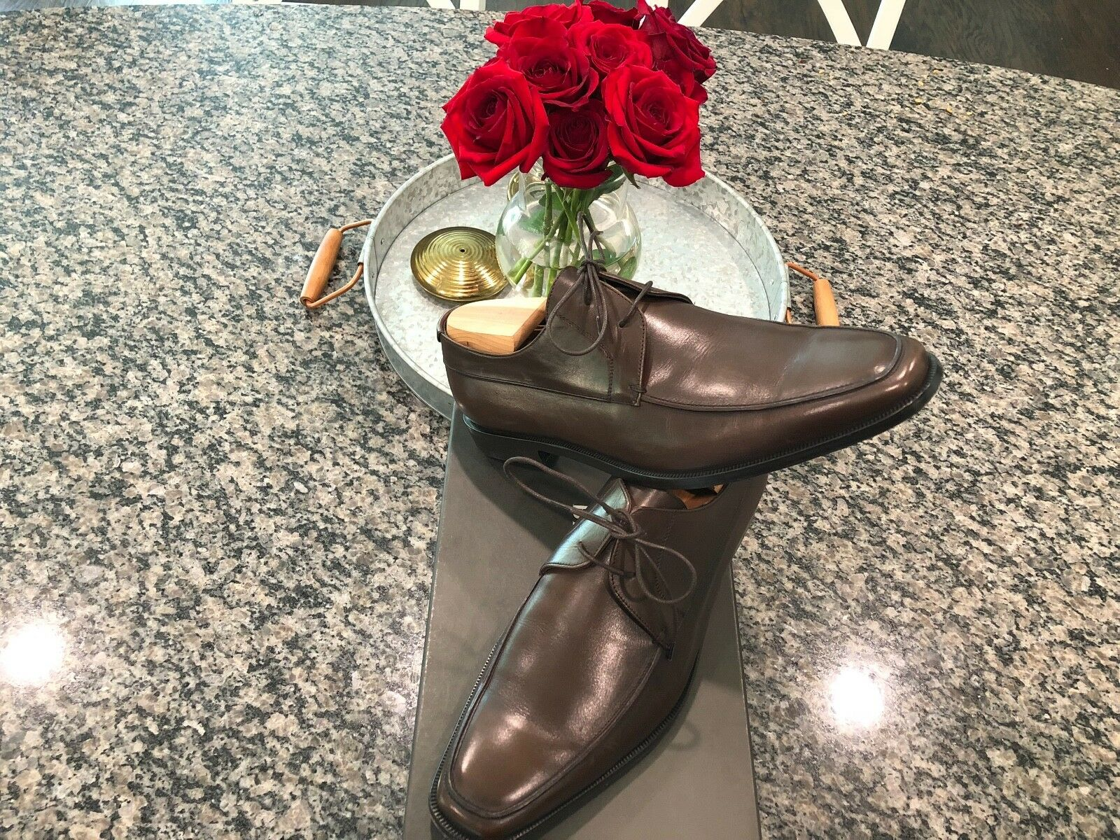 RARE 495   Bruno Magli  Manola  Lacets Chaussures 10 M marron foncé porté une fois