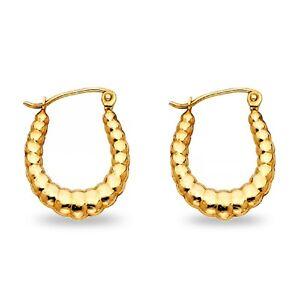 14k Yellow Gold Oval Shrimp Hoop Earrings Hollow French Lock Fancy