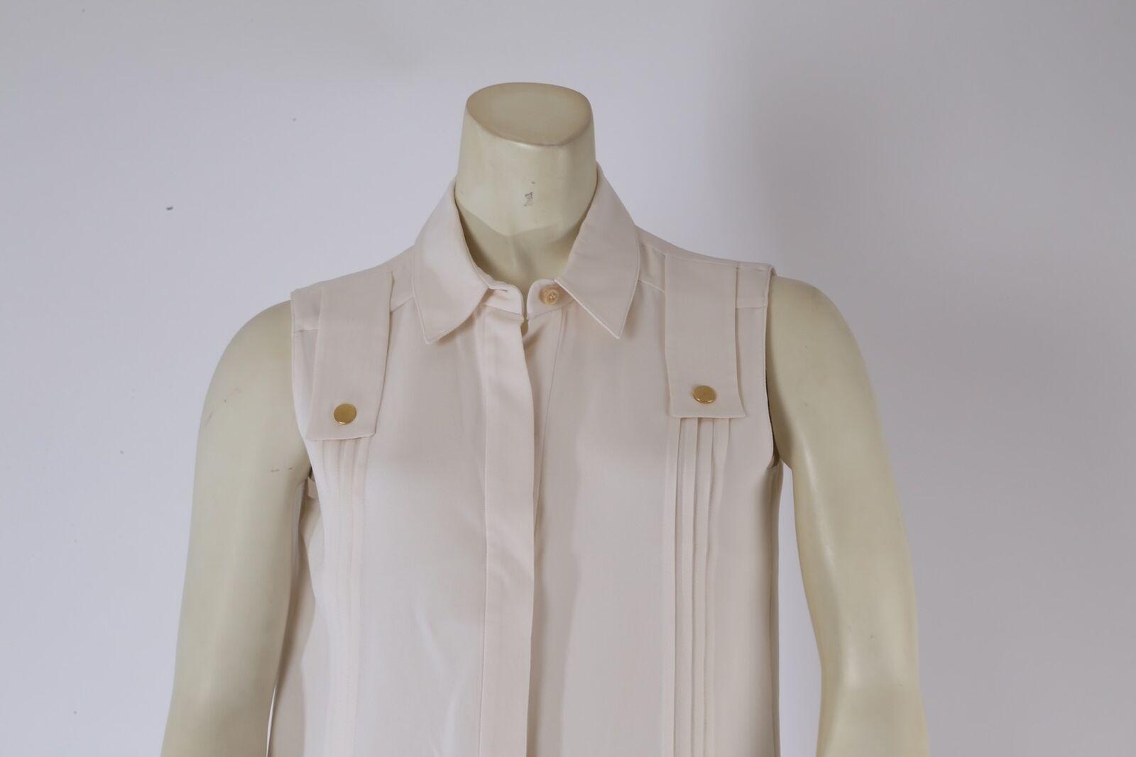 DEREK LAM Ivory Sleeveless Collared Silk Pleated … - image 2
