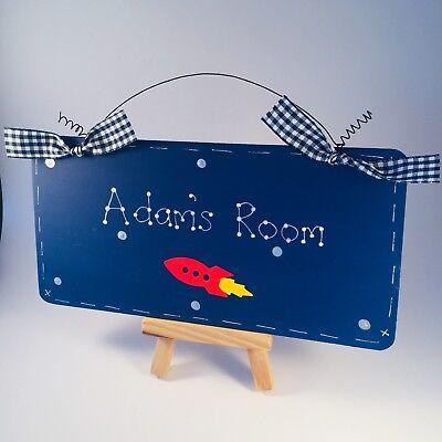Personalised Boy/'s Bedroom Name Plaque ROCKET BEDROOM DOOR SIGN Space Door Sign