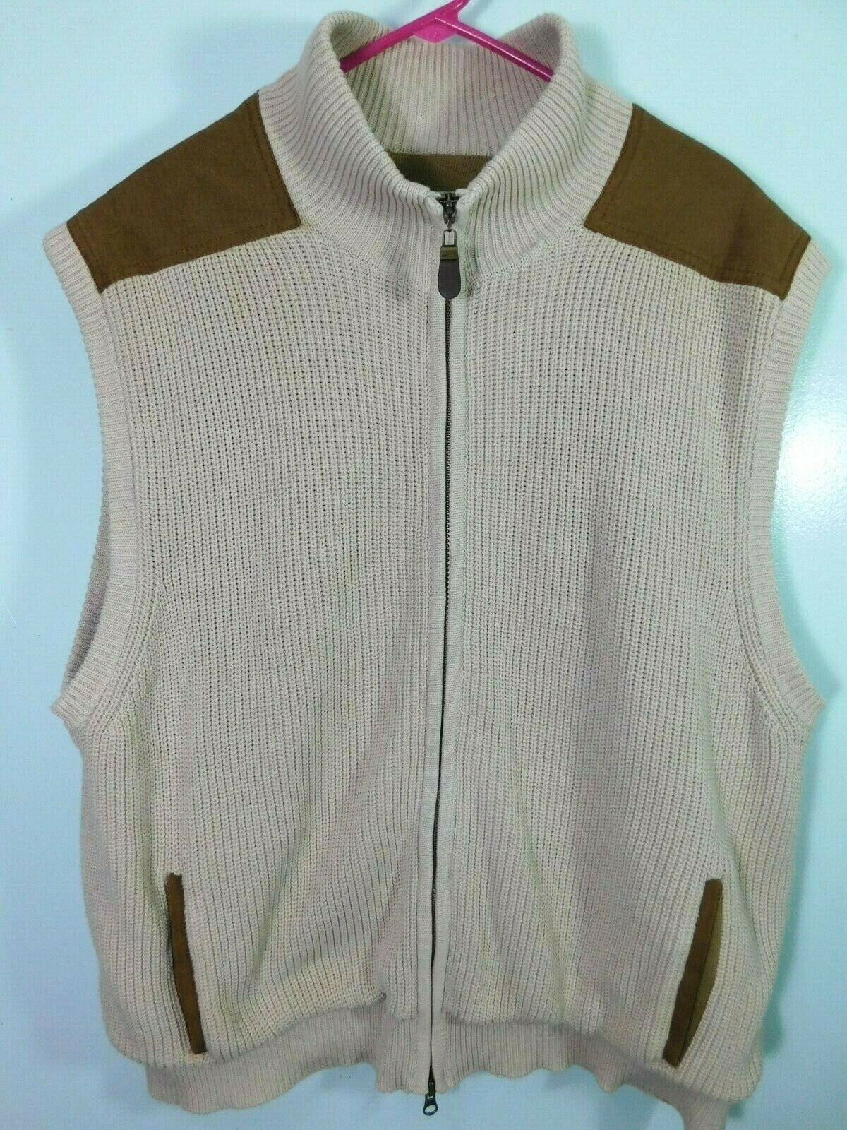 Orvis Cable Knit Full Zip Sweater Vest Men's XL Cream colord Suede Shoulder