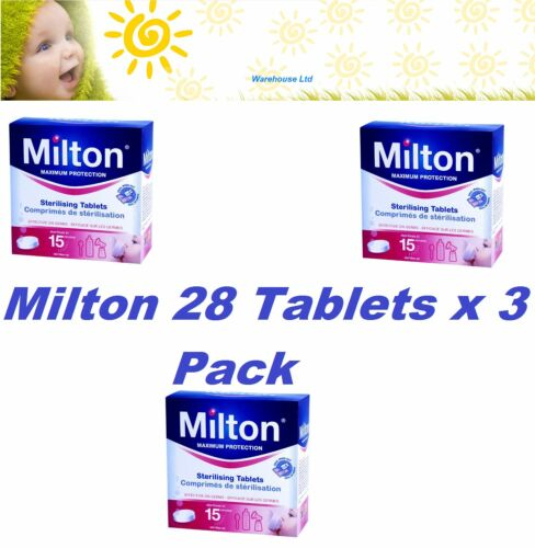 Milton 24 Hour Steriliser Tablet Protects for Germs 28 Pack x 3 Free Fast Del