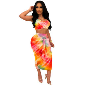 Women-Sleeveless-Tie-Dye-Print-Casual-Club-Party-Bodycon-Dress-Skirts-Set-2pc