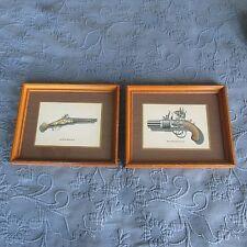 Pair of Vintage Picture Frames,Gun Prints,Wheellock Pistol & Pepperbox Revolver