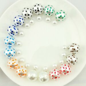 Double Sided Polka Pearl Earrings Ball Studs for Womens Girls jewelry UK