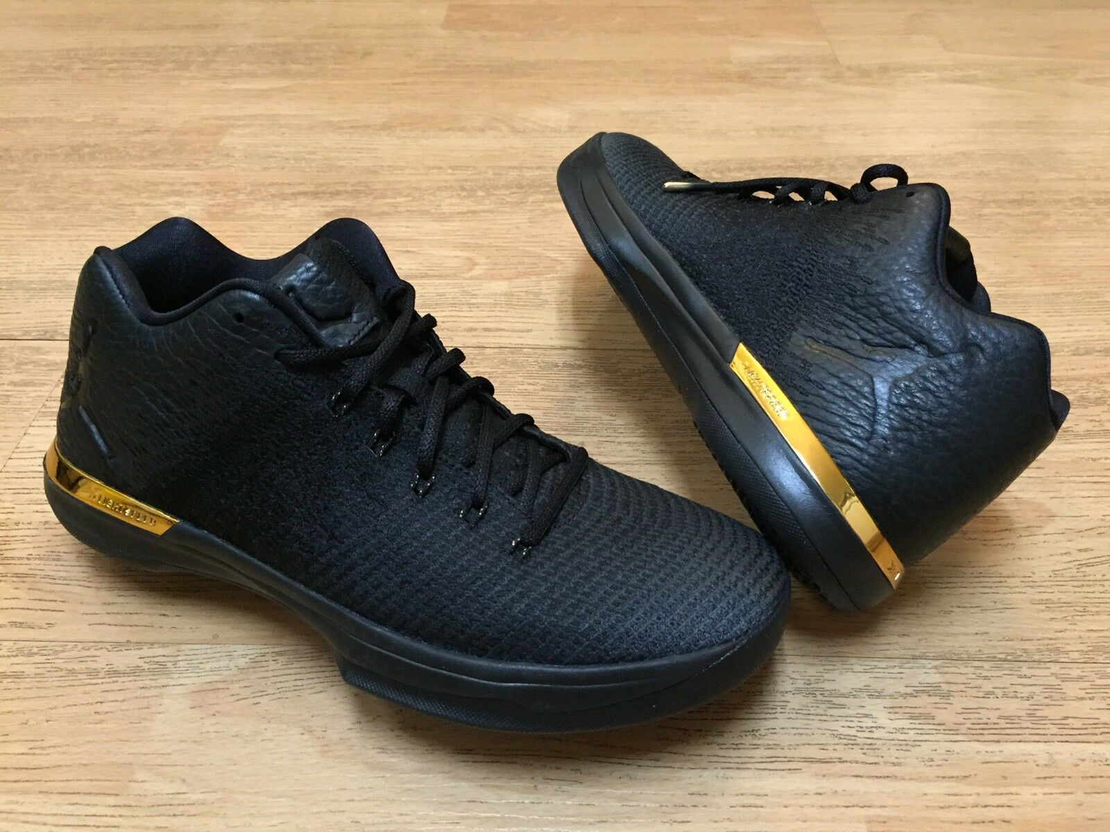 NIKE AIR JORDAN XXXI 31 TRIPLE BLACK TROPHY GOLD BASKETBALL SHOES 7 7Y Women 8.5