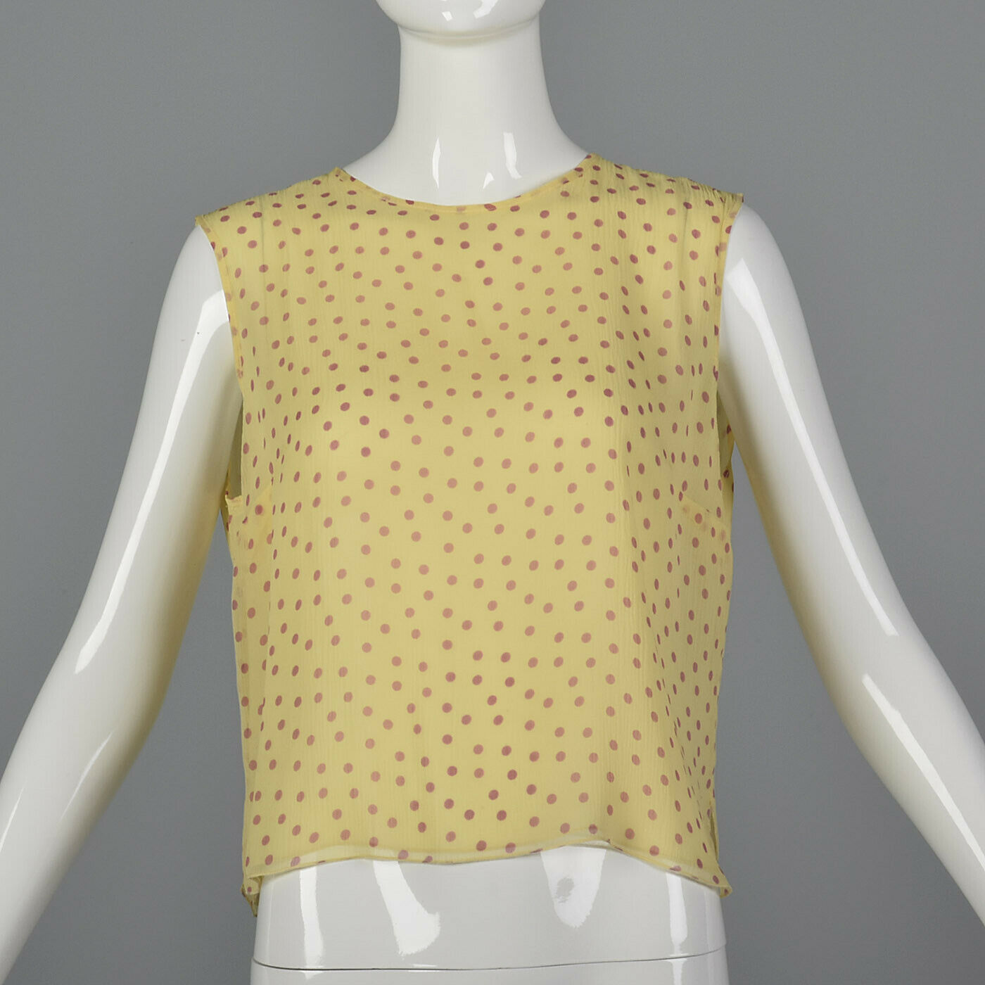Medium Silk Blouse Gelb Rosa Polka Dots Tank Top Summer Sleeveless Shirt Light