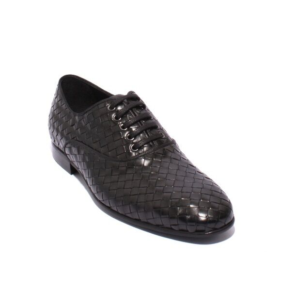 ROBERTO SERPENTINI 16929 Black Woven Leather Lace-Up shoes 44   US 11