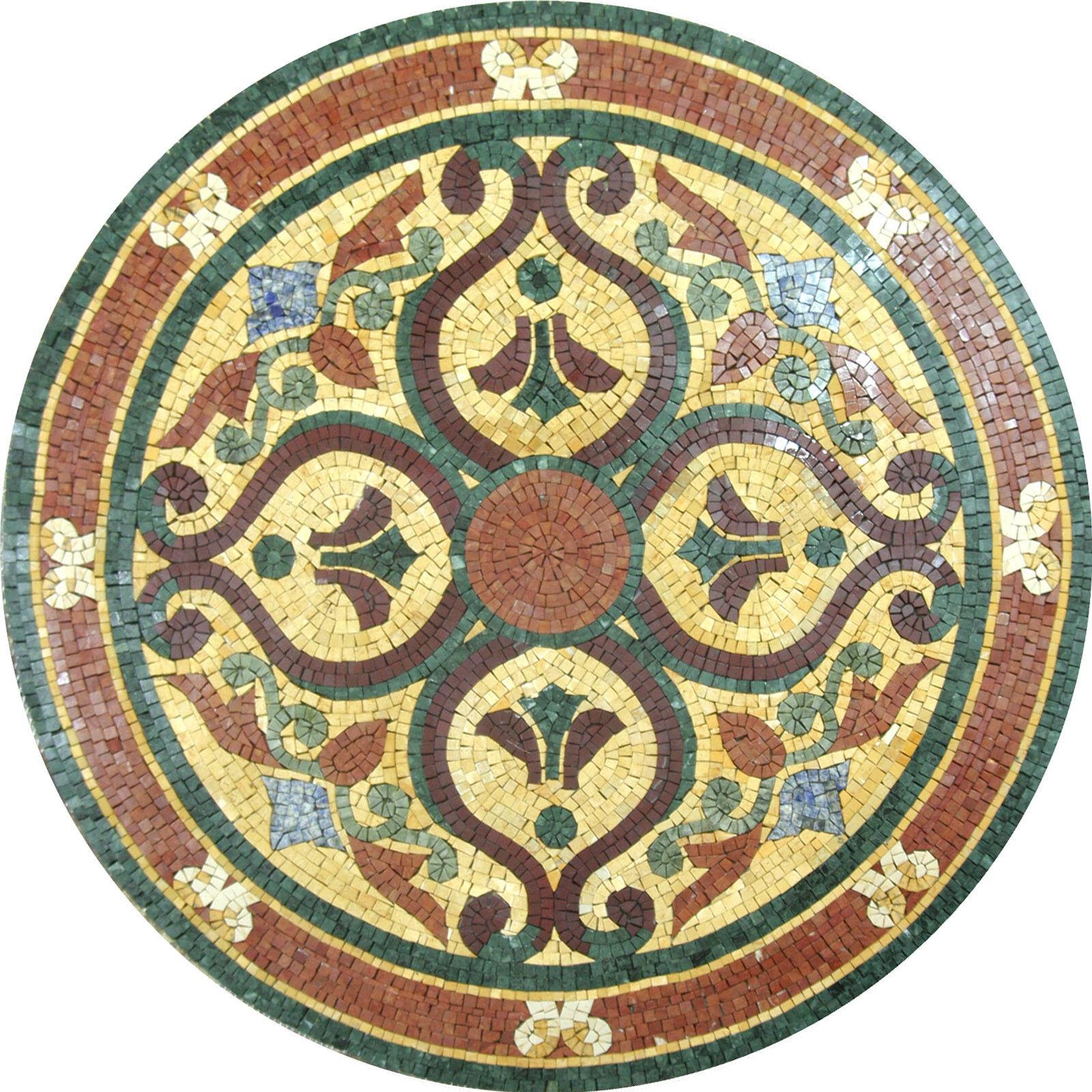 Archaic Motif Decor Round Medallion Tile Marble Mosaic MD1048
