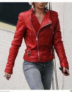 Leather Women's Biker Jacket Moto Lambskin Motorcycle Fit Red Real Slim wI1TTa