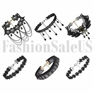 6pcs-Vintage-Gothic-Women-039-s-Black-Bib-Lace-Flower-Choker-Collar-Punk-Necklace