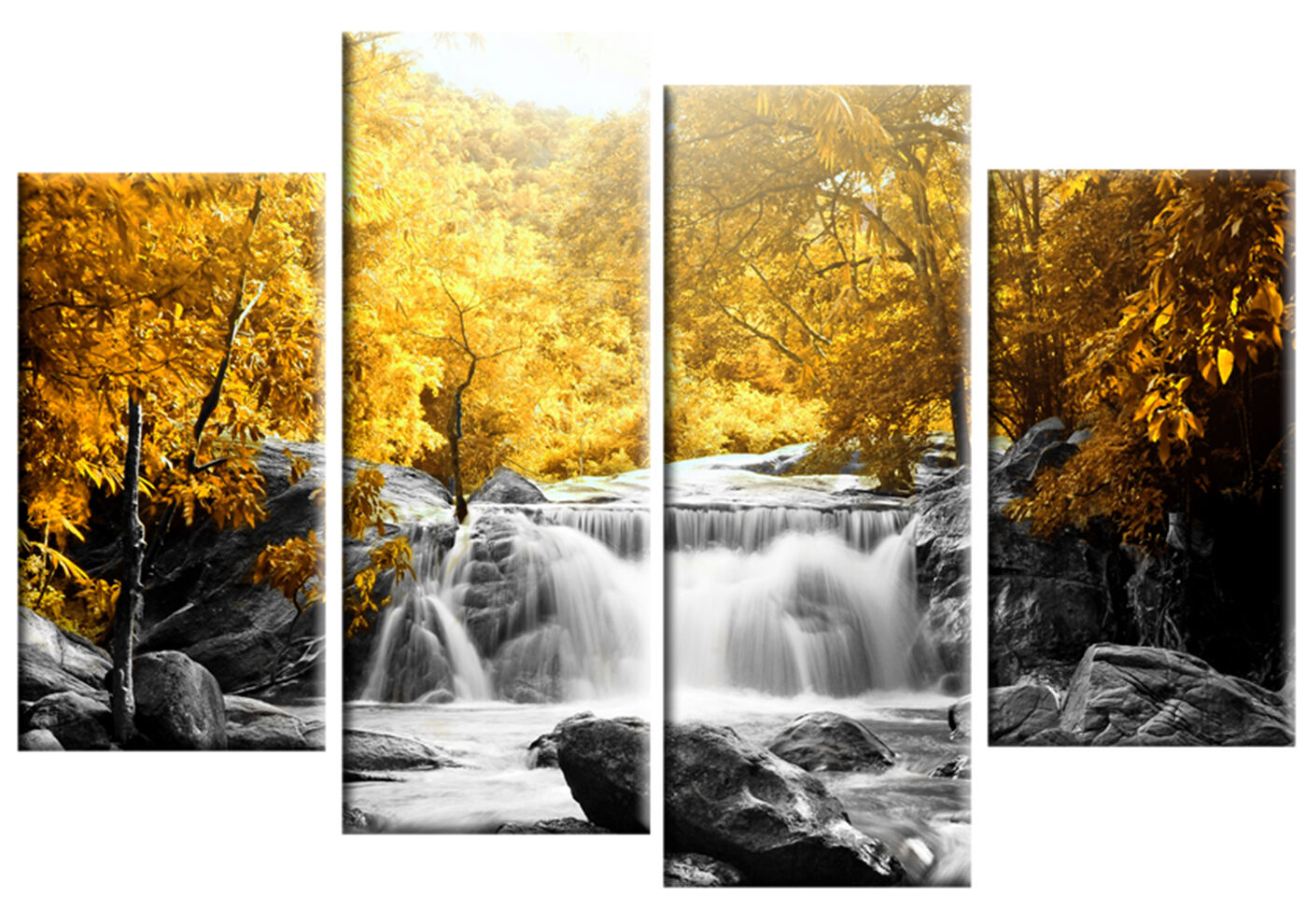 Yellow Trees Forest Waterfall Canvas Wall Art Picture 4 Panel Split ...