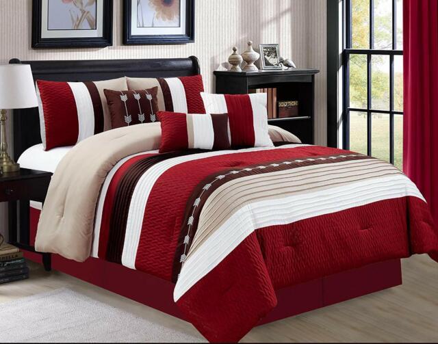 Comforter Sets Queen.Jbff 7 Piece Luxury Embroidery Bed In Bag Microfiber Comforter Set