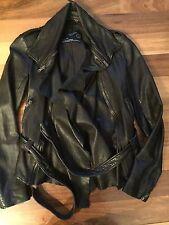 NWOT Authentic AllSaints Black Leather Belted Biker Jacket Size US 6