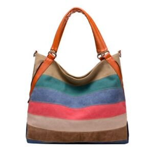 Image Is Loading Canvas Women Handbags Hobo Bag Summer Striped Crossbody