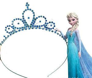 Girls Kid blue Metal Princess Crystal Frozen Elsa Head Hair Tiara ... 4de5acb3498