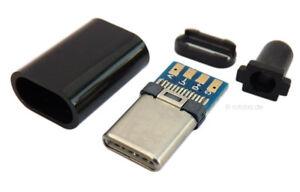 USB-C Stecker, Lötstecker, Löt-Kontakte, USB Stecker zum Löten, schwarz #uCstkr