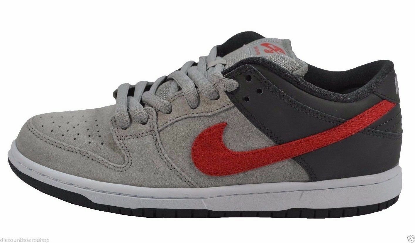 Nike DUNK LOW PRO SB Medium Grey University Red 304292-064 (250) Men's Shoes