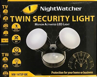 NIGHTWATCHER TWIN SECURITY MOTION ACTIVATED LED SENSOR LIGHT BLACK