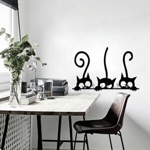Three-Cats-Animal-Household-Room-Window-Wall-Sticker-Mural-Decor-Decal-Removable