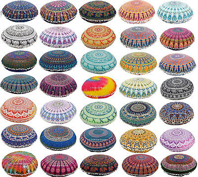 "Large Mandala Round Pouf Pillow Case 32"" Bohemian Meditation Floor Cushion Cover"
