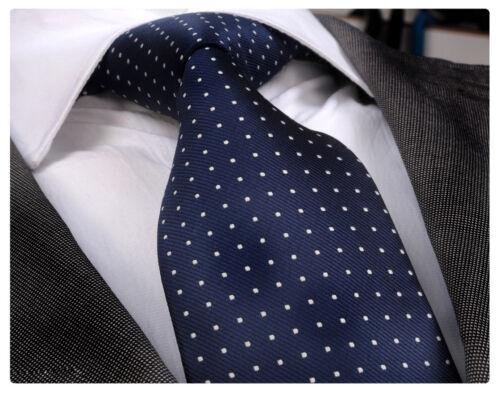 /& HANKY ITALIAN DESIGNER Milano Exclusive NAVY BLUE /& WHITE DOT SILK TIE