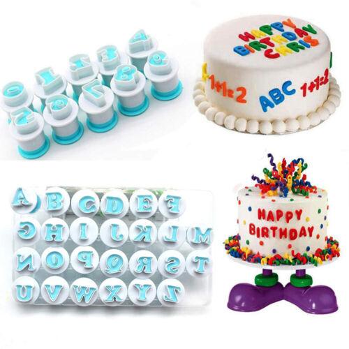 Alphabet Letter Mold Set Fondant Sugarcraft Cake Decorating Plunger Cutters Tool